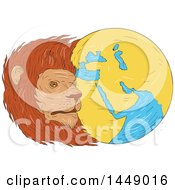 Clipart Graphic Of A Drawing Sketch Styled Male Lion Head And Globe Featuring The Middle East And Asia Royalty Free Vector Illustration