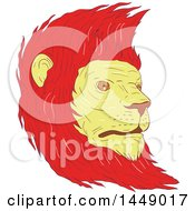 Drawing Sketch Styled Male Lion Head With A Red Mane