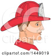 Clipart Graphic Of A Sketched Fire Fighter Wearing A Vintage Helmet In Profile Royalty Free Vector Illustration