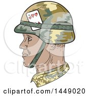 Clipart Graphic Of A Drawing Sketch Styled African American Us Army Soldier Head In Profile Royalty Free Vector Illustration