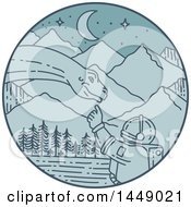 Poster, Art Print Of Mono Line Styled Astronaut Touching A Dinosaur In A Blue Mountainous Circle