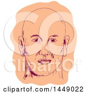 Clipart Graphic Of A Drawing Sketched Caucasian Mans Face With A Bald Head Royalty Free Vector Illustration