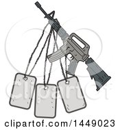 Clipart Graphic Of A Drawing Sketch Styled M4 Rifle And Dog Tags Royalty Free Vector Illustration by patrimonio
