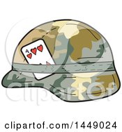 Poster, Art Print Of Cartoon Us Army Kevlar Combat Helmet With A Four Of Hearts Playing Card