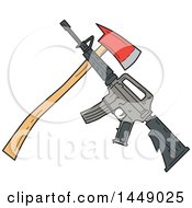 Clipart Graphic Of A Drawing Sketch Styled Crossed Fire Ax And M4 Rifle Royalty Free Vector Illustration