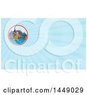 Cartoon Man Fly Fishing In A Mountainous Lake Circle And Blue Rays Background Or Business Card Design