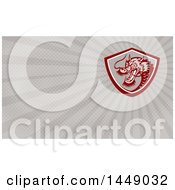 Clipart Of A Chinese Dragon In A Shield And Rays Background Or Business Card Design Royalty Free Illustration by patrimonio