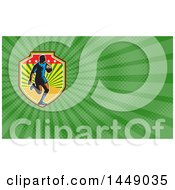 Retro Woodcut Rugby Player And Green Rays Background Or Business Card Design