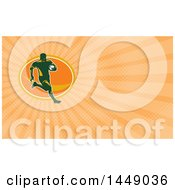 Rugby Player Running And Orange Rays Background Or Business Card Design