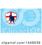 Clipart Of A Silhouetted Knight In Full Armor Over An English Flag Shield And Blue Rays Background Or Business Card Design Royalty Free Illustration