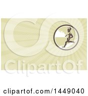 Retro Male Marathon Runner In An Urban Circle And Green Rays Background Or Business Card Design