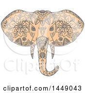 Clipart Graphic Of A Sketched Mandala Styled Elephant Head Royalty Free Vector Illustration