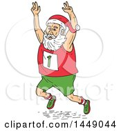 Clipart Graphic Of A Cartoon Santa Claus Running A Marathon Holding His Arms Up In The Air Royalty Free Vector Illustration by patrimonio