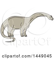 Clipart Graphic Of A Sketched Mono Line Styled Brontosaurus Apatosaurus Dinosaur Royalty Free Vector Illustration by patrimonio