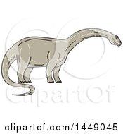 Poster, Art Print Of Sketched Mono Line Styled Brontosaurus Apatosaurus Dinosaur