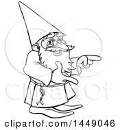 Black And White Lineart Old Wizard Pointing