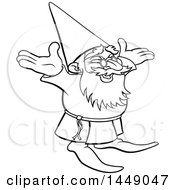 Black And White Lineart Old Wizard Cheering