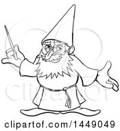 Black And White Lineart Old Wizard Holding A Magic Wand