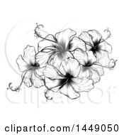 Clipart Graphic Of A Vintage Black And White Engraved Or Woodcut Hibiscus Flower Design Royalty Free Vector Illustration by AtStockIllustration