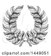 Clipart Graphic Of A Black And White Woodcut Laurel Wreath Royalty Free Vector Illustration