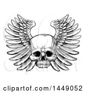 Clipart Graphic Of A Black And White Woodcut Etched Or Engraved Winged Human Skull Royalty Free Vector Illustration by AtStockIllustration