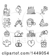 Clipart Graphic Of Black And White Sketched Life Event And Holiday Icons Royalty Free Vector Illustration