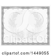 Clipart Graphic Of A Faded Engraved Laurel Wreath In A Green Certificate Border Royalty Free Vector Illustration by AtStockIllustration