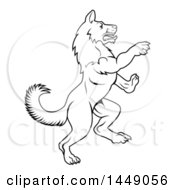 Clipart Graphic Of A Black And White Lineart Rearing Rampant Dog Royalty Free Vector Illustration