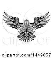 Clipart Graphic Of A Black And White Fierce Swooping Bald Eagle With Talons Extended Flying Forward Royalty Free Vector Illustration