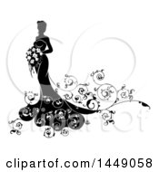 Clipart Graphic Of A Silhouetted Black And White Bride Holding A Bouquet Royalty Free Vector Illustration