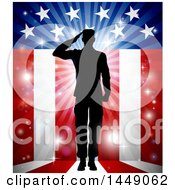 Clipart Graphic Of A Silhouetted Full Length Male Military Veteran Saluting Over An American Themed Flag And Bursts Royalty Free Vector Illustration by AtStockIllustration