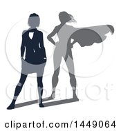 Clipart Graphic Of A Silhouetted Business Woman With A Super Hero Shadow Royalty Free Vector Illustration by AtStockIllustration