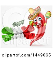 Clipart Graphic Of A 3d Mexican Flag Colored Happy Cinco De Mayo Text Design With A Chile Pepper Mascot Holding Maracas Royalty Free Vector Illustration by AtStockIllustration
