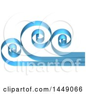 Clipart Graphic Of A 3d Blue Swirly Cloud Or Ocean Wave Design Royalty Free Vector Illustration by AtStockIllustration