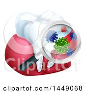 Clipart Graphic Of A 3d Magnifying Glass Discovering Germs Or Bacteria On A Tooth And Gums Royalty Free Vector Illustration by AtStockIllustration