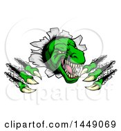 Clipart Graphic Of A Cartoon Green Tyrannosaurus Rex Dinosaur Slashing Through A Barrier Royalty Free Vector Illustration