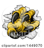 Clipart Graphic Of Eagle Claws Ripping Through Metal With Sharp Talons Royalty Free Vector Illustration