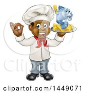 Cartoon Full Length Happy Young Black Male Chef Holding A Fish Character And Chips On A Tray