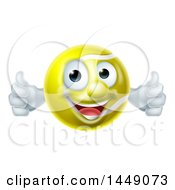 Cartoon Happy Tennis Ball Mascot Character Giving Two Thumbs Up