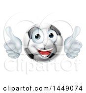 Cartoon Happy Soccer Ball Mascot Character Giving Two Thumbs Up