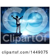 Clipart Graphic Of A Silhouetted Business Man In Worship On A Cliff Holding His Arms Up To A Blue Sky Over Mountains Royalty Free Vector Illustration