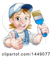 Poster, Art Print Of Cartoon Happy White Female Painter In A Baseball Cap Holding Up A Thumb And Brush