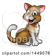 Cartoon Happy Sitting Brown And White Kitty Cat