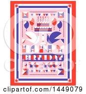 Poster, Art Print Of Retro Happy Birthday To You Greeting With Doves And A Cake