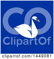 Clipart Graphic Of A Flat Styled Swan On Blue Royalty Free Vector Illustration