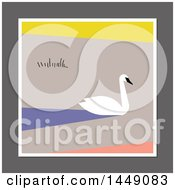 Clipart Graphic Of A Flat Styled Swan On Pastel Royalty Free Vector Illustration