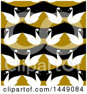 Clipart Graphic Of A Flat Styled Seamless Swan Pattern Royalty Free Vector Illustration