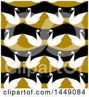 Flat Styled Seamless Swan Pattern