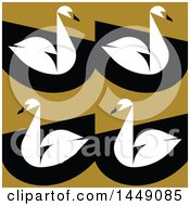 Clipart Graphic Of A Flat Styled Swan Background Royalty Free Vector Illustration