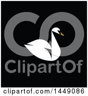Clipart Graphic Of A Flat Styled Swan On Black Royalty Free Vector Illustration